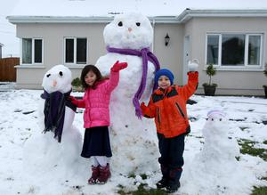 Twins Misha and Cian Chun enjoying the snow in Loughrea, Co Galway, yesterday. Photo: Hany Marzouk