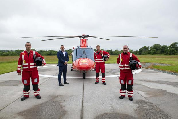 The crew of the Irish Community Air Ambulance, which has saved a number of lives in Limerick and beyond. (L to R): Paul Traynor, Advanced Paramedic; Micheal Sheridan, CEO; Donnah Verling, Chief Pilot; James Ward, Advanced Paramedic. Photo by Brian Lougheed