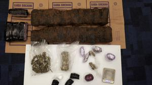 4.5kg of cannabis herb with an estimated street value of €90,000 was found along with a further 470g of cocaine with an approximate street value of €33,000