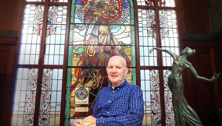 Paddy Campbell in front of one of the stained glass windows at Bewley's cafe on Grafton Street, Dublin. Photo: Leon Farrell/Photocall Ireland