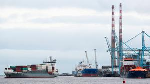 A container ship arrives into Dublin Port as a spokesman for the Freight Transport Association Ireland has told the Taoiseach in a letter that the new Brexit requirements see the industry struggling to keep the flow of goods moving. Photo: Brian Lawless/PA Wire