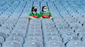 Sisters Leah (left) and Cara Fahey in the Cusack stand before last weekend's Connacht SFC final between Mayo and Galway at Croke Park, Dublin. Photo: Ray McManus/Sportsfile