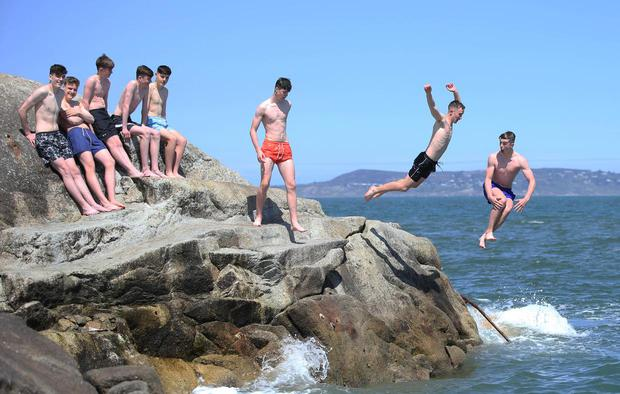 Good weather for a dip at the Fortyfoot in Sandycove. Picture: Stephen Collins