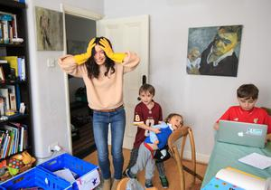Mary McCarthy at home with her children John (11), Dermot (7) and Aris (3). Photo: Mark Condren