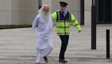 A still image from the RTÉ sketch with God being arrested for rape. Photo: RTÉ