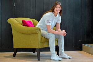 Katie Taylor at the Morrison Hotel in Dublin yesterday. Photo: Brendan Moran/ Sportsfile