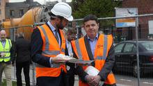 Ministers Eoghan Murphy and Paschal Donohoe at a sod-turning ceremony in Dublin. Photo: Sam Boal/Rollingnews.ie