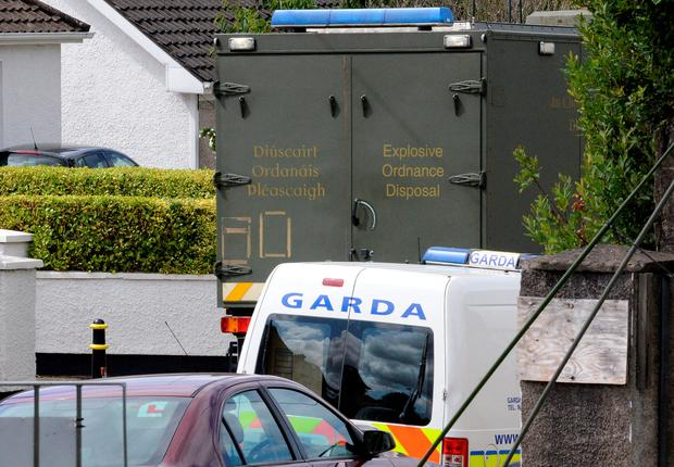 The scene at Togher Garda Station, Cork city where Gardai were forced to evacuate the station to allow an army bomb disposal team make safe a pipe bomb, which was brought to the station by a member of the public.