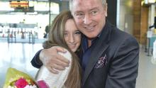 Michael Flatley met Kerry Hourigan (14),  from Douglas, Co Cork, at Cork Airport yesterday as he flew in to pick up his  award. Picture: Michael Mac Sweeeney/Provision