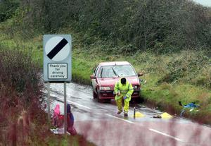 The scene after a woman and six children were hit by a car while they were walking to school in County Antrim