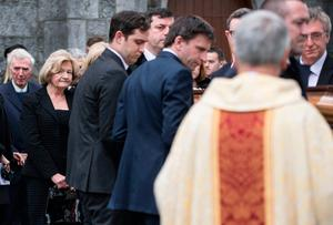Maeve Gallagher wife of former secretary general at the Department of Foreign Affairs Dermot Gallagher at his funeral Mass in Ratoath. Photo :Mark Condren