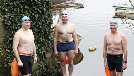 Ger Purcell (66) on right set a Guinness World Record for swimming a mile in ice-cold waters. He is pictured with his friends and fellow ice swimmers Alan Gleeson (53) and Harry Harbison (63)