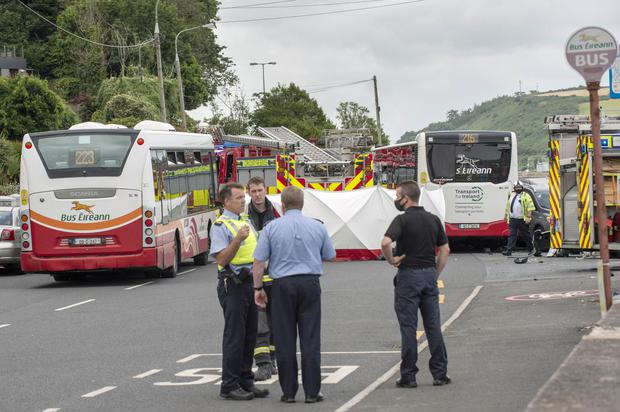 The scene of a fatal road traffic accident where a bus collided with a number of cars in Monkstown, Cork Harbour. Photo: Daragh McSweeney