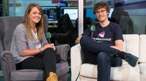 Paddy Cosgrave speaking  to Denise Calnan at the Web Summit in The RDS