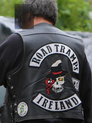 Road Tramps jacket: a friend of Andrew O'Donoghue arrives to pay his respects.
