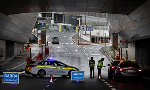 A Garda checkpoint under Terminal 2 at Dublin Airport. Photo: Steve Humphreys