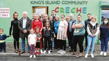 Devastated: Families join Limerick councillors John Costello and Frankie Daly outside King's Island Community Crèche in Limerick