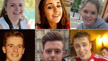 Clockwise from top left, the victims included Ashley Donohoe (22), Eimear Walsh, Olivia Burke, Nick Schuster, Eoghan Culligan and Lorcan Miller, all aged 21