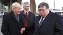 'Mr McGuinness was, in my experience, passionate about the peace process and keen to make it work,' says former taoiseach Brian Cowen, pictured with former Deputy First Minister Martin McGuinness and Gerry Adams