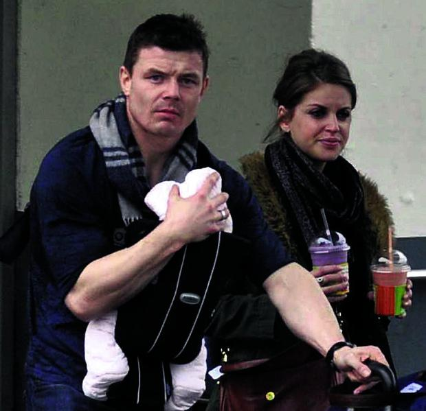 Rugby legend Brian O'Driscoll with his wife, actress Amy Huberman, and daughter Sadie