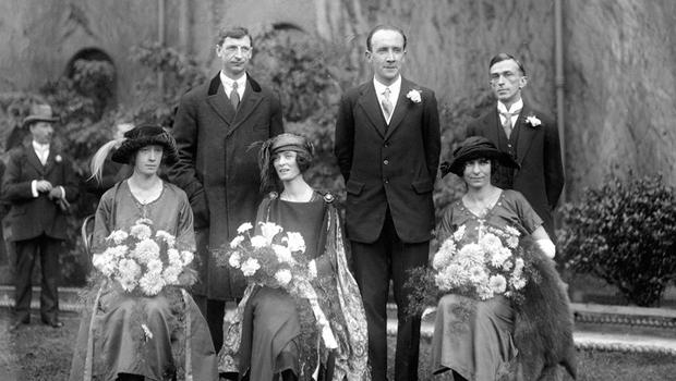 Personal divisions: Kevin O'Higgins, centre, on his wedding day with Eamon de Valera, left and Rory O'Connor. A year later, O'Higgins would sign O'Connor's execution order