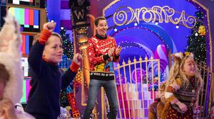 Presenter Ryan Tubridy and pals on the set of this year's Late Late Toy Show. Photo: Andres Poveda