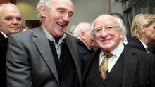 President Michael D.Higgins with John Connolly from Bray,Co.Wicklow,a grandson of James Connolly  at the presentation of the 1916 Rising Oral  History Collection. Photo: Tom Burke