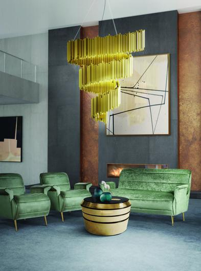 DelightFULL, green Mid Century style with Art Deco Gold Suspension Lamp