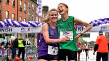 Eimear O'Brien, left, from Sligo, and Anne Linden, from Monaghan, after completing the 2015 Vhi Women's Mini Marathon