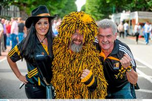 Kilkenny supporters Laura Warren, from Ferrybank, Co. Kilkenny with Stephen Tobin and Éamonn Rice, from Kilmacow, Co. Kilkenny, on their way to the game