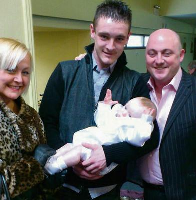 Ms Fitzpatrick, Dean and Dave Mahon with Dean's son Leon