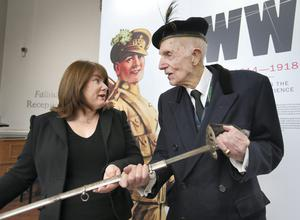 Sir Jack Leslie  who is 98 years old, pictured with  Exhibition Curator Nikki Ralston