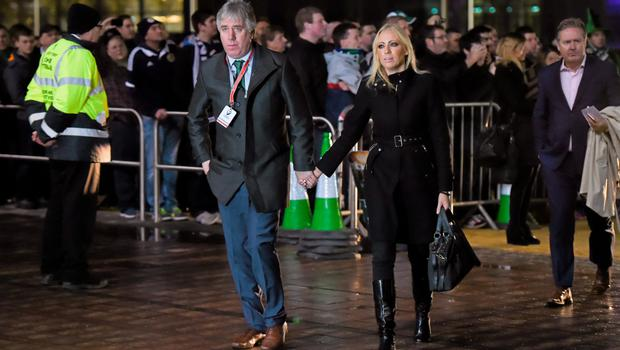 FAI chief Executive John Delaney and his girlfriend Emma English arrive ahead of the game Photo: Stephen McCarthy / Sportsfile