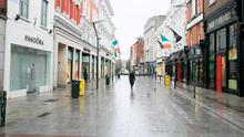 All quiet: A normally bustling Grafton Street in Dublin city centre was eerily void of people yesterday, and there is no sign it is going to change soon. Photo: Gareth Chaney/ Collins