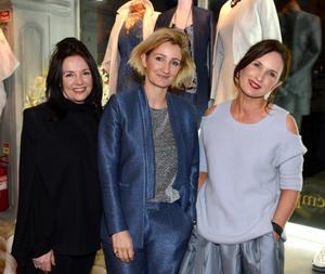Designer Zoe Jordan launched her Spring/Summer Collection at Emporium Kalu, Naas, Co Kildare with an exclusive customer evening. Pictured here are Kate O'Dwyer, Zoe Jordan and Louise Flanagan.