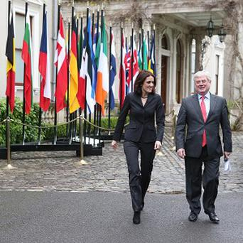 Tanaiste Eamon Gilmore meets Northern Ireland Secretary Theresa Villiers at Farmleigh House in Dublin for talks