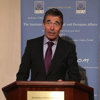 Nato Secretary General Anders Fogh Rasmussen speaking at the Institute of International and European Affairs in Dublin