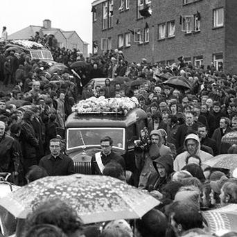 The funeral procession of the 13 people who died on Bloody Sunday in 1972