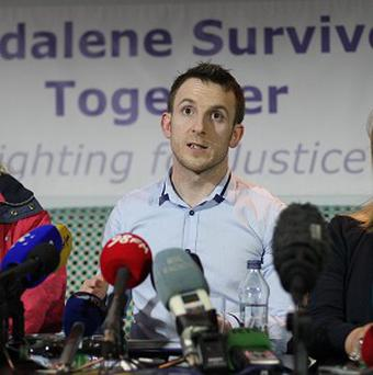 Mary Smyth, Steven O'Riordan, and Maureen Sullivan from Magdalene Survivors Together, speaking at a press conference in Dublin today. PRESS ASSOCIATION Photo. Picture date: Tuesday February 5, 2013. The Irish Government has apologised to the thousands of women locked up in Catholic-run workhouses known as Magdalene laundries between 1922 and 1996. As an inquiry found 2,124 of those detained in the institutions were sent by the authorities, Taoiseach Enda Kenny expressed his sympathies with survivors and the families of those who have died. See PA story IRISH Magdalenes. Photo credit should read: Niall Carson/PA Wire