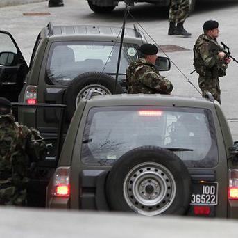A heavy security presence is seen outside the Special Criminal Court in Dublin for the arrival of Wayne Dundon and Nathan Killeen