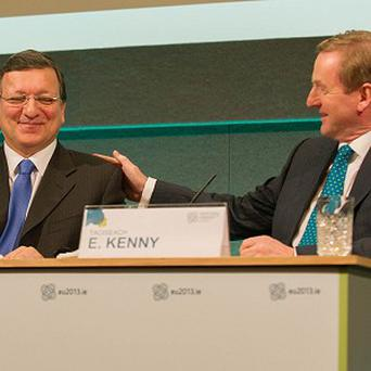 Jose Manuel Barroso (left) and Taoiseach Enda Kenny are holding talks in Dublin