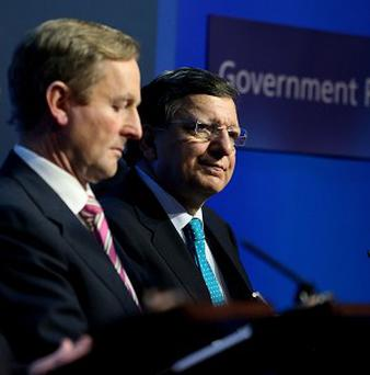 Taoiseach Enda Kenny and European Commission President Jose Manuel Barroso at the Government Press Centre, Dublin