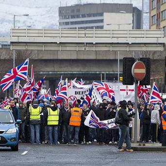 Loyalist protesters in East Belfast after a flag protest in Belfast City Centre