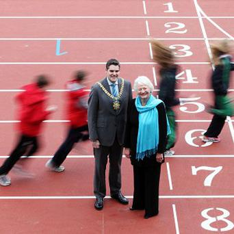 Dame Mary Peters with Lord Mayor Alderman Gavin Robinson at the reopening of the Mary Peters Track at Malone