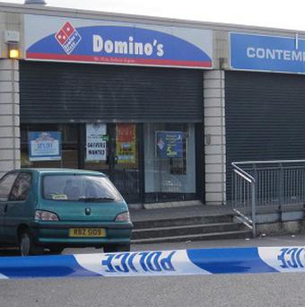 Domino's Pizza in the Turf Lodge area of west Belfast where pizza delivery driver Kieran McManus was gunned down at close range
