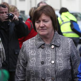 Midwife Ann Maria Burke arrives for the inquest into the death of Savita Halappanavar