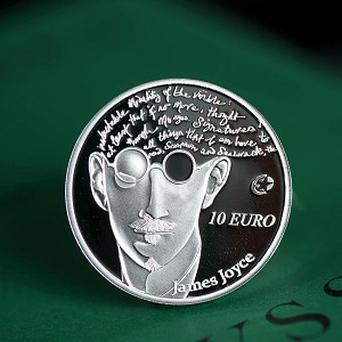 A view of a limited addition James Joyce collector coin issued by the Central Bank of Ireland. (Jason Clarke /PA)