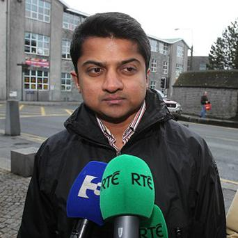 Praveen Halappanavar, husband of Savita Halappanavar, arrives for the inquest into her death at Galway Coroners Court