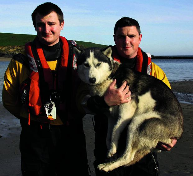 Volunteer RNLI crew members Nick Searls and Ian Fitzgerald who rescued Koda who fell off a cliff in Sandycove, Co Cork
