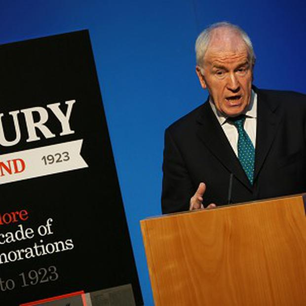 Minister for Arts, Heritage and the Gaeltacht Jimmy Deenihan speaks at the launch of Century Ireland at the Government Press Centre, Dublin